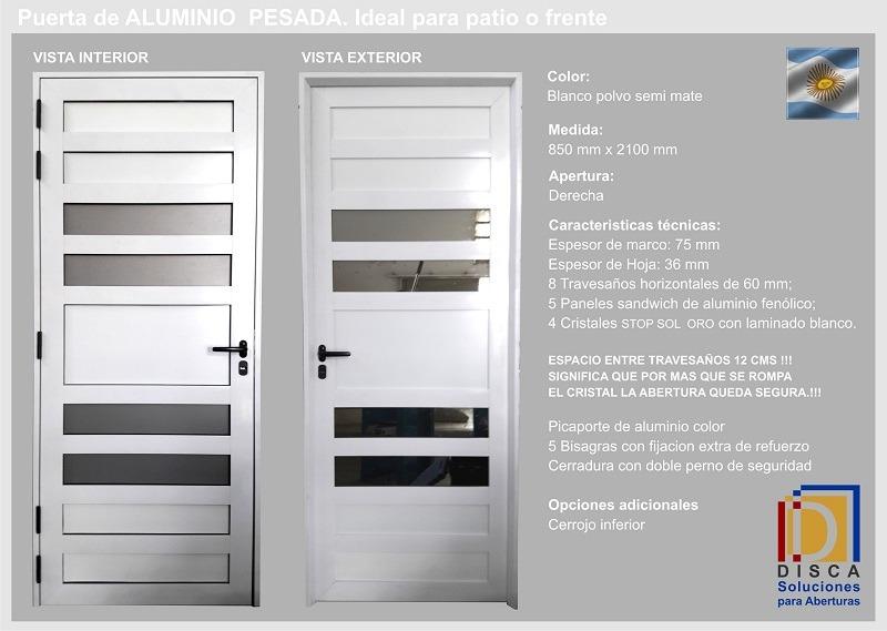 Puerta De Aluminio Con Travesaños - $ 13.890,00 en Mercado Libre