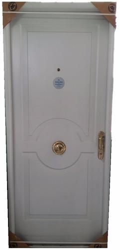 puerta de chapa inyectada con pomo y manijon de bronce
