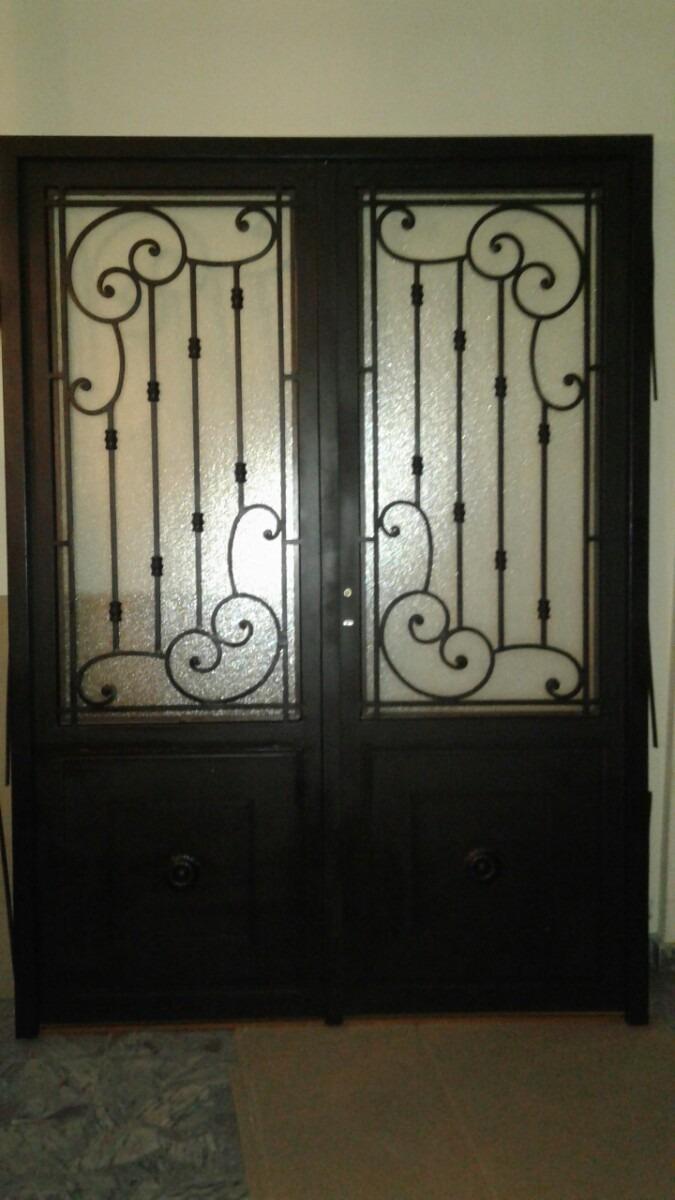 Puerta De Hierro Doble Hoja Con Marco Y Vidrio - $ 32.000,00 en ...