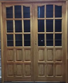 Puertas Dos Hojas Madera Vidrio Repartido Exteriores Aberturas