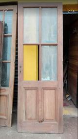 Puerta Interior Madera Con Vidrio Repartido Y Marco Aberturas