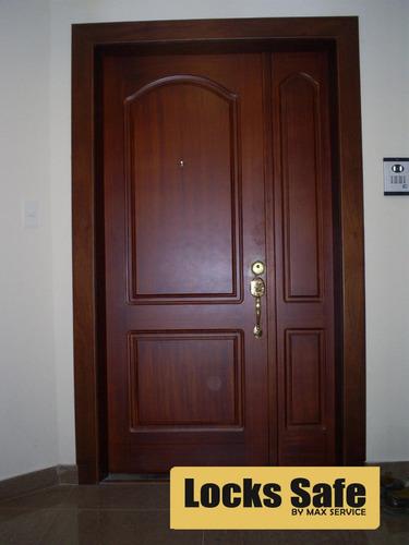 puerta de seguridad enchapada en madera