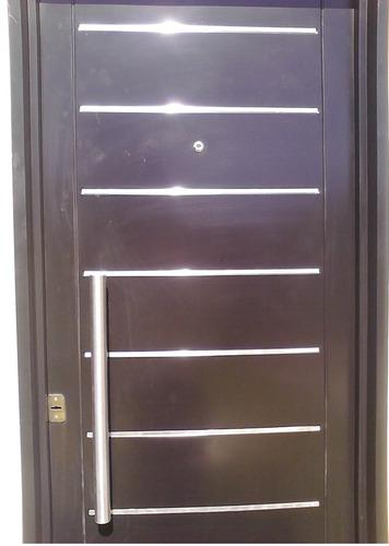 puerta doble chapa inyectada de 0.90 con apliques y manijon