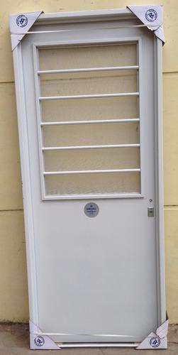 puerta doble chapa inyectada postigo abrir + mosquitero 80x2