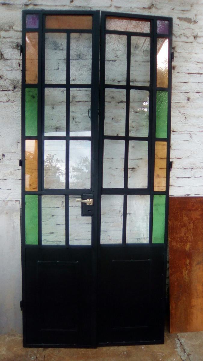 Puerta Doble De Hierro Vidrio Repartido - $ 13.500,00 en Mercado Libre