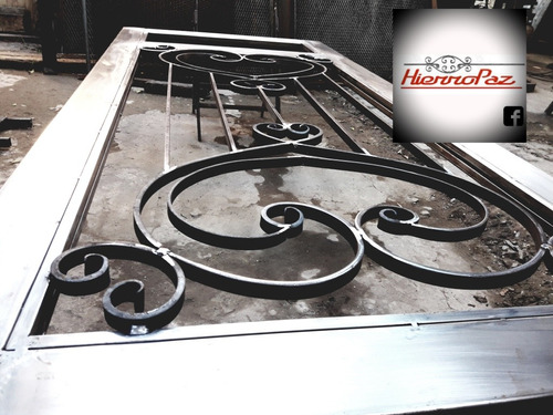 puerta doble hierro forjado 1.50x2.10 vidrio 4 mm
