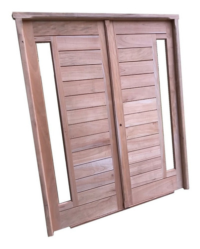 puerta doble madera cedro nacional exterior barral paño fijo 160x200