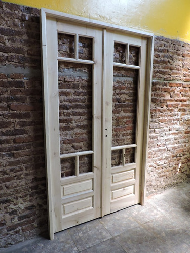 puerta doble modelo griego e- 108. madera maciza ! única !