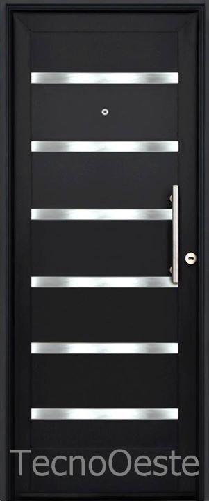 Puerta Entrada Exterior Pavir 80cm Barral Y Apliques Acero