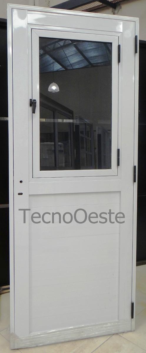 Puerta Exterior Aluminio Blanco 1/2 Vidrio Entero De Abrir ...