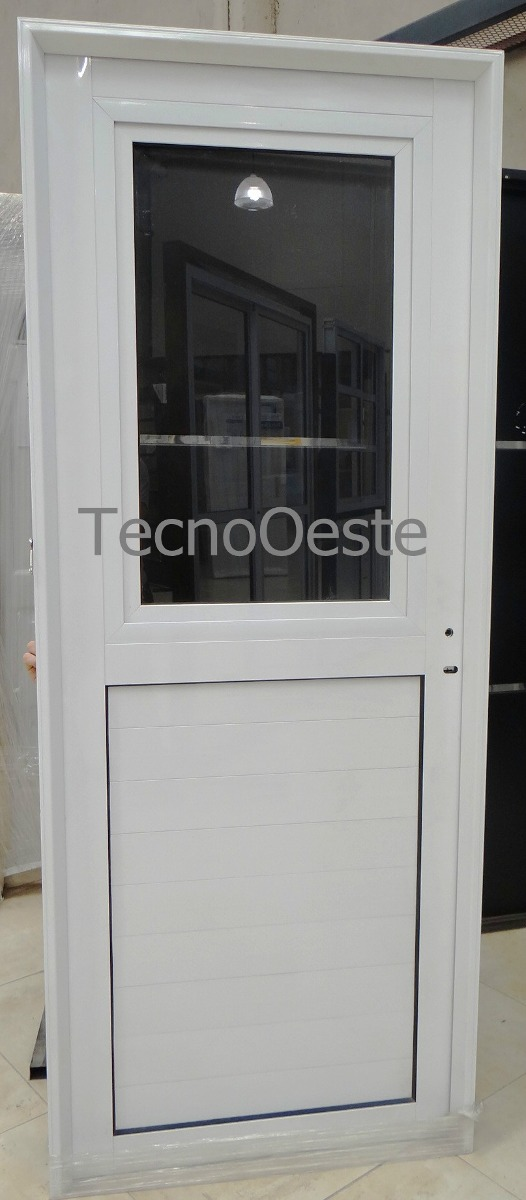 puerta exterior aluminio blanco vidrio entero de abrir