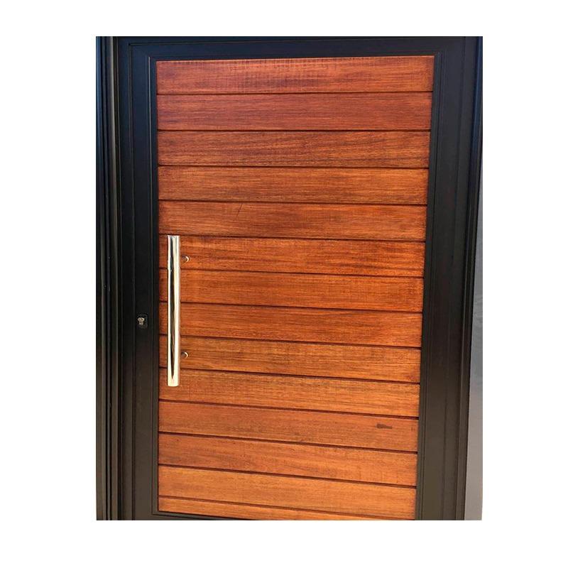 puerta exterior aluminio color y madera c barral