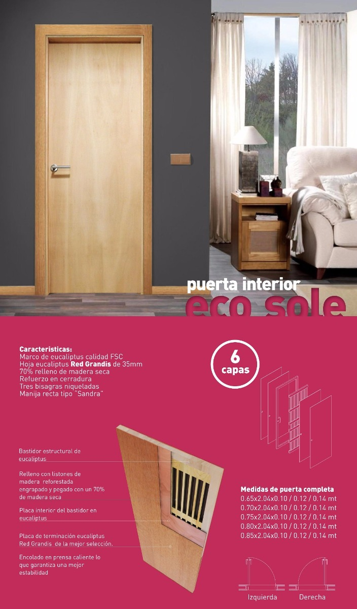 Puerta Interior Hoja Eucaliptus Y Marco Eucaliptus Finger - $ 4.800 ...