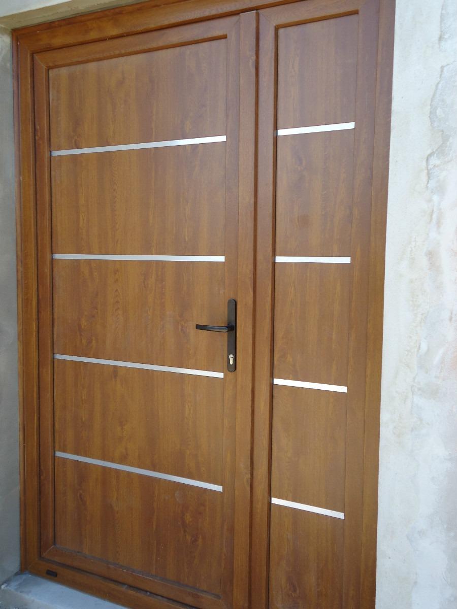 puerta ita exterior pvc foliada madera ranurada con apliques