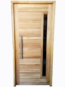 Puerta Maciza En Cedro Para Exterior C Barral Y Vidrio 80x2