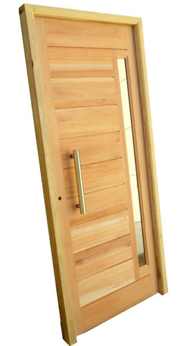 puerta madera cedro machimbrada barral acero inoxi 80x200