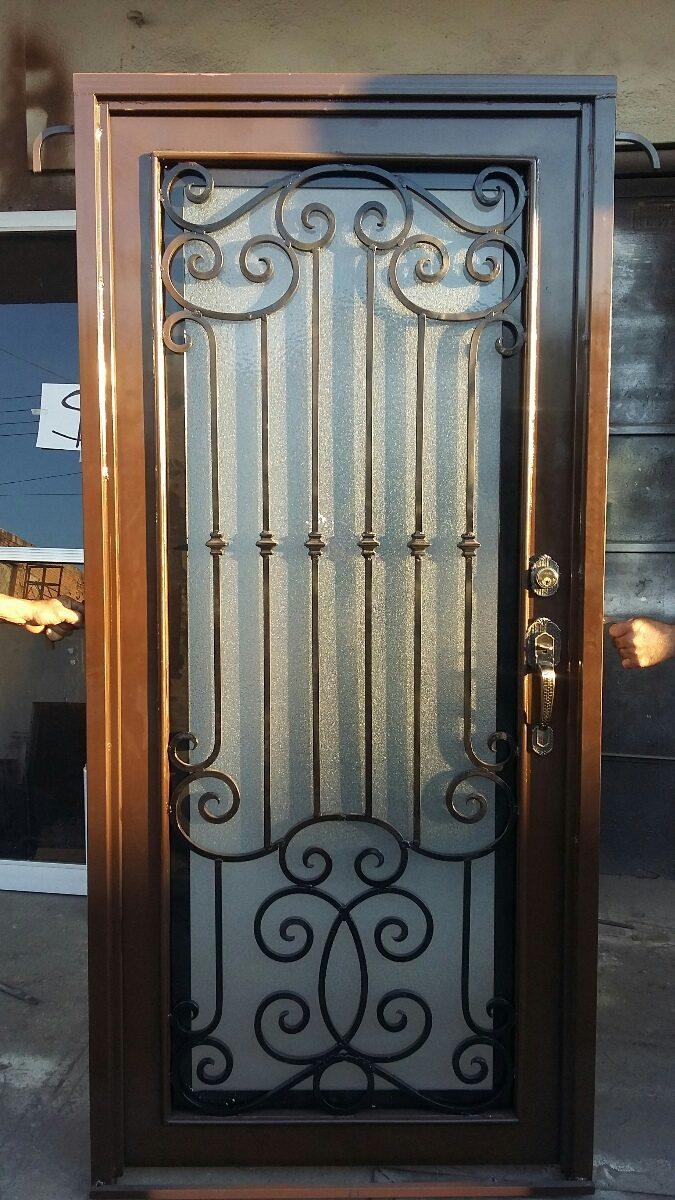 Puerta metal varilla cuadrada 1 2 con forja 9 - Puertas de metal para casas ...