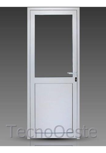 puerta módena aluminio pesado 90x200 cm 1/2 vidrio dvh 4/9/4