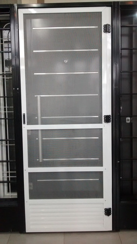 puerta mosquitero aluminio blanco 80x200 bisagras vaiven