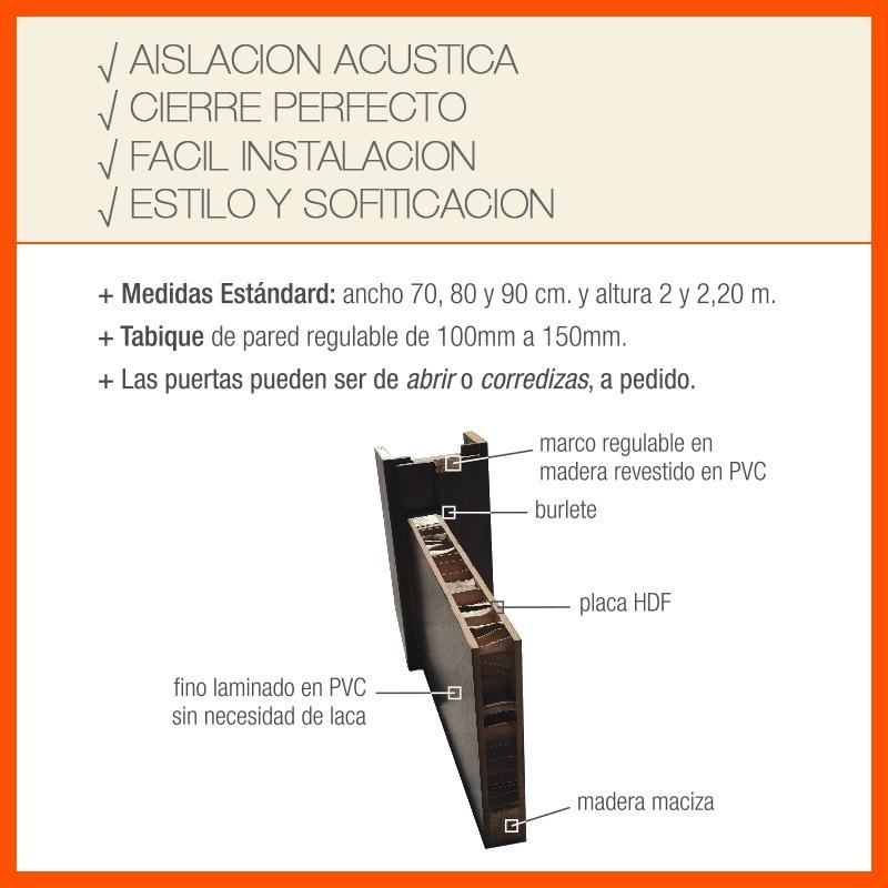 Puerta Outlet Placa Blanco Inter Pvc Marco Cerradura 830mm - $ 2.100 ...