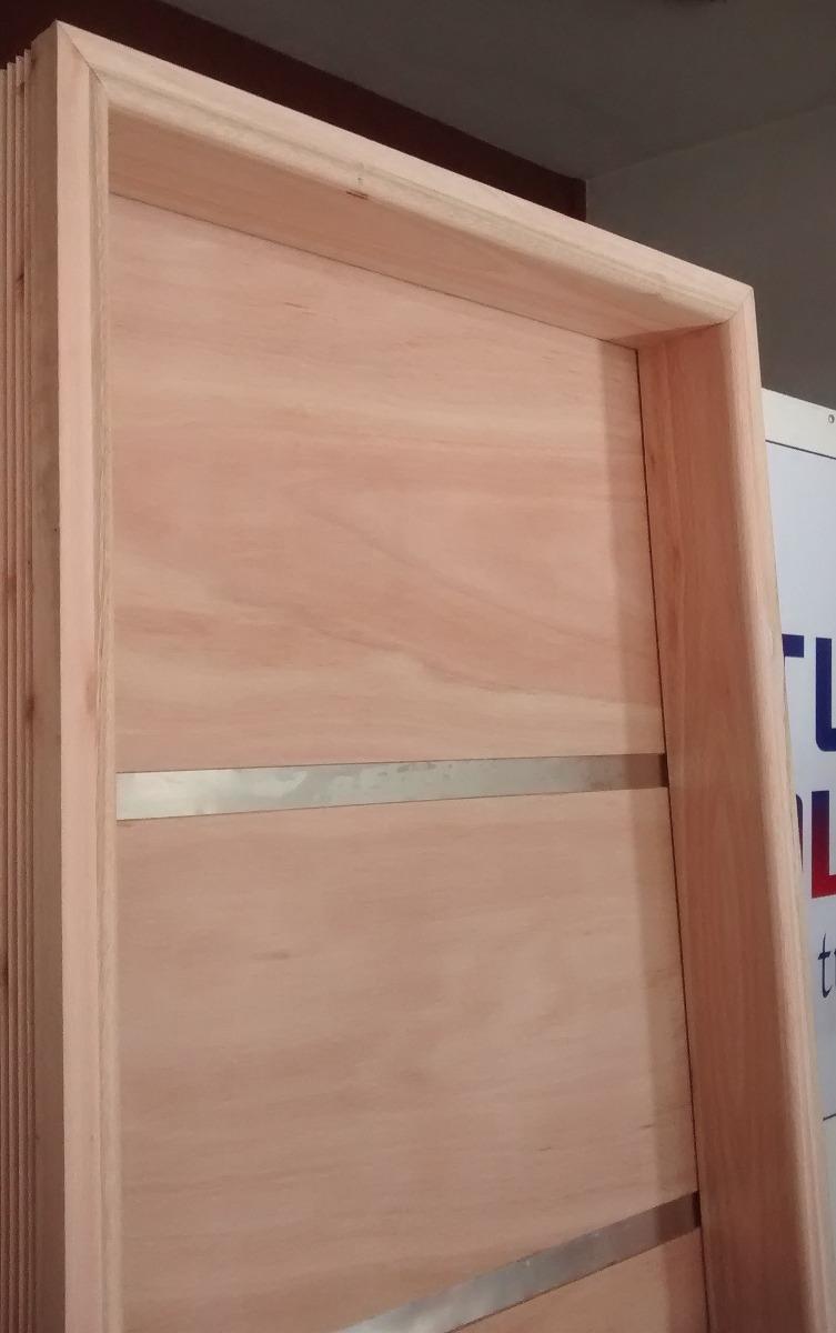 puerta placa con apliques marco madera para amurar o durlock