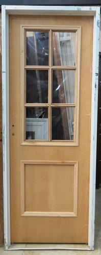 puerta placa corrediza cedro 1/2 vidrio repartido 80x200 cm