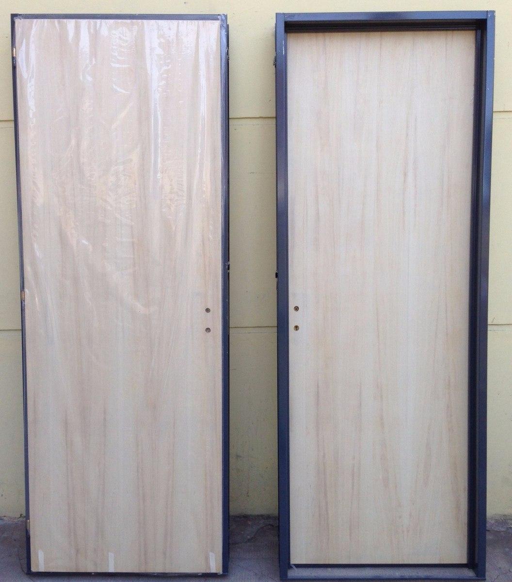 Puerta Placa Madera Guatambu Interior Marco Chapa 70x20010 - Puertas-madera-interiores