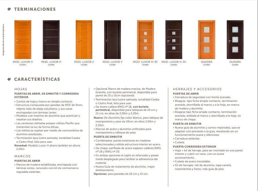 Puerta Placa Oblak Premium Luxor H Caoba 70/15 Marco Madera ...