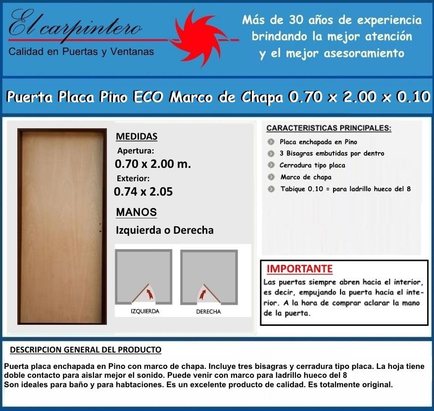 Puerta Placa Pino Eco 0.70 Marco De Chapa Envíos S/cargo - $ 1.925 ...