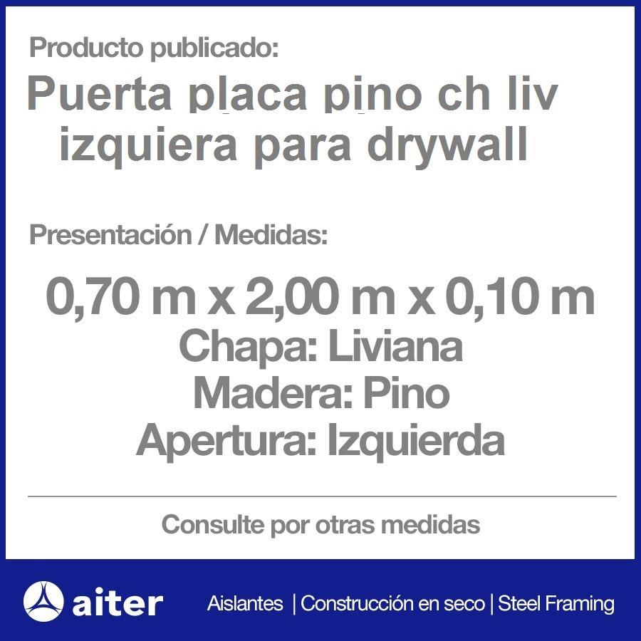 Puerta Placa Pino Para Drywall Con Marco Metálico Izquierda ...