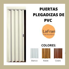 Puerta Plegadiza De Pvc 10 Mm Ciega Color Blanco 0.65 X 2