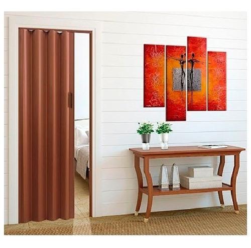 puerta plegadiza de pvc de 070 x 200 (completa) color cedro