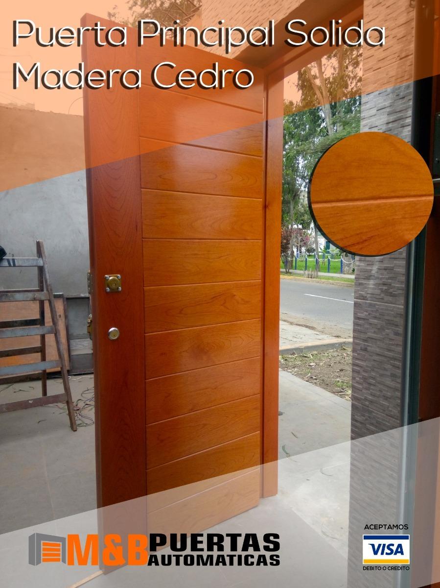 Puerta principal batiente madera cedro modelo for Descripcion de puertas de madera