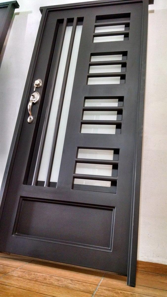Puerta principal de forja contempor nea s per oferta for Puertas de metal con vidrio modernas