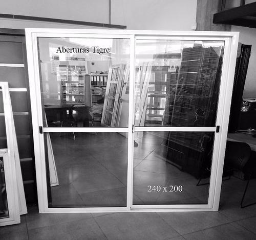 puerta ventana balcon aluminio blanco 240x200 vidrio 4mm