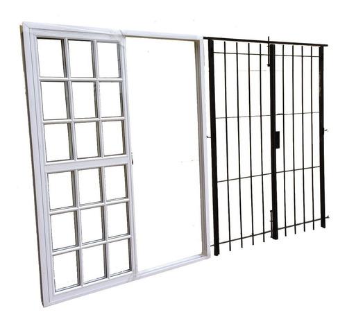 puerta ventana balcón vidrio repartido reja abrir 200x200