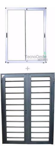 puerta ventana módena aluminio blanco 200x200 c/ reja tubos