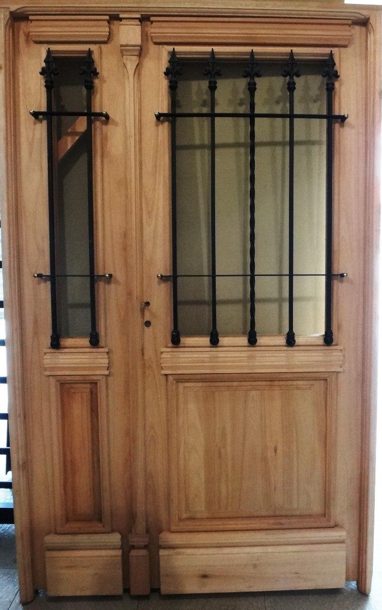 Puerta y media abrir madera exterior 1 2 reja colonial for Puertas de exterior baratas