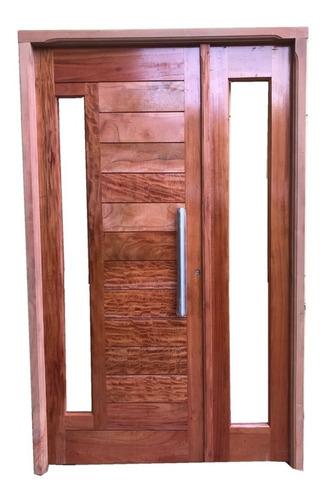 puerta y media residencia madera cedro barniz barral 120x200