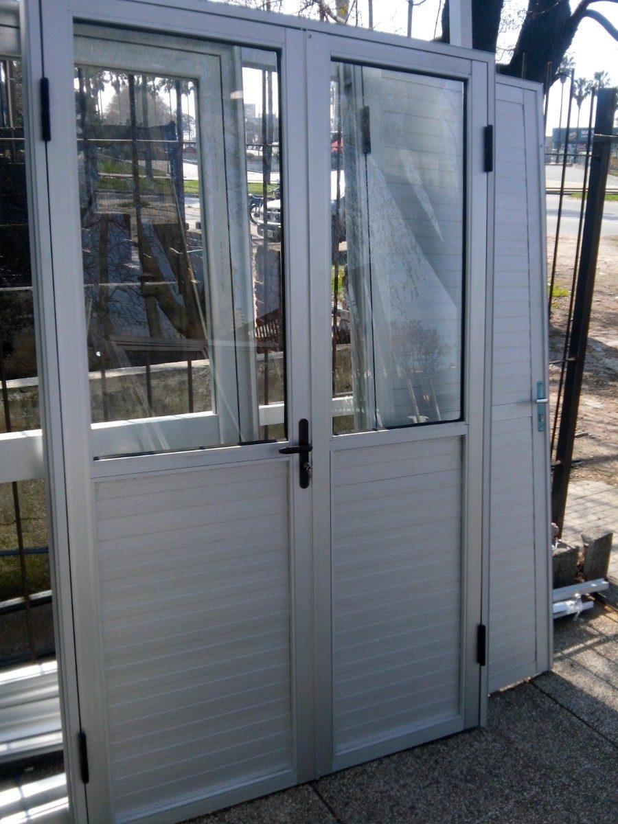 Puertas De Aluminio Estandar 80x200 Mitad Vidrio Mitad Alumi ...