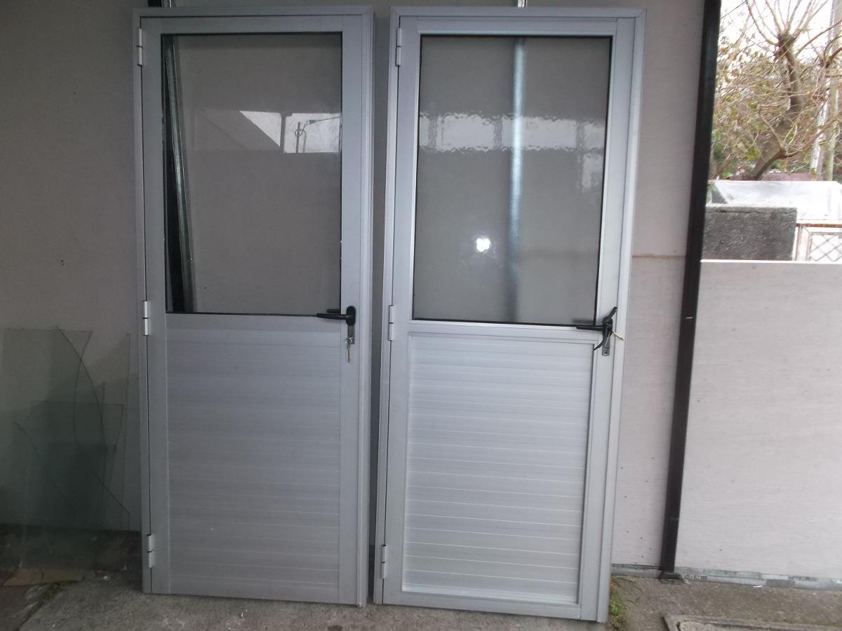 Puertas de aluminio gris natural en mercado libre for Puertas interiores de aluminio y cristal