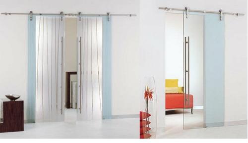 puertas de baños correderas y batientes ( cristal templado)