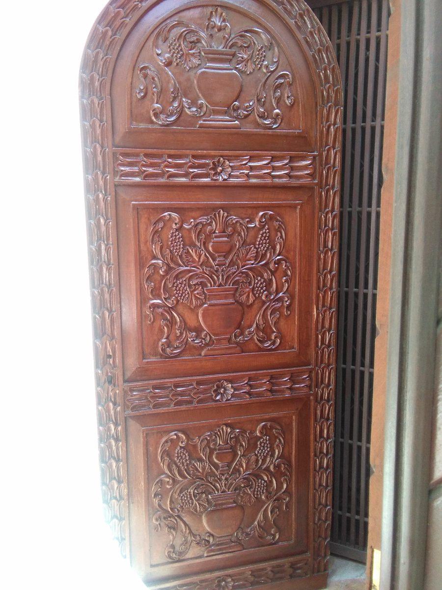 Puertas madera cedro tallada s en mercado libre for Descripcion de puertas de madera