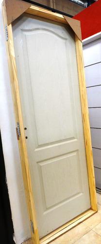 puertas placa craftmaster blanca marco madera  80x200 cm