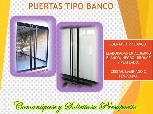 puertas tipo banco, cierre de oficinas, fachadas de vidrio