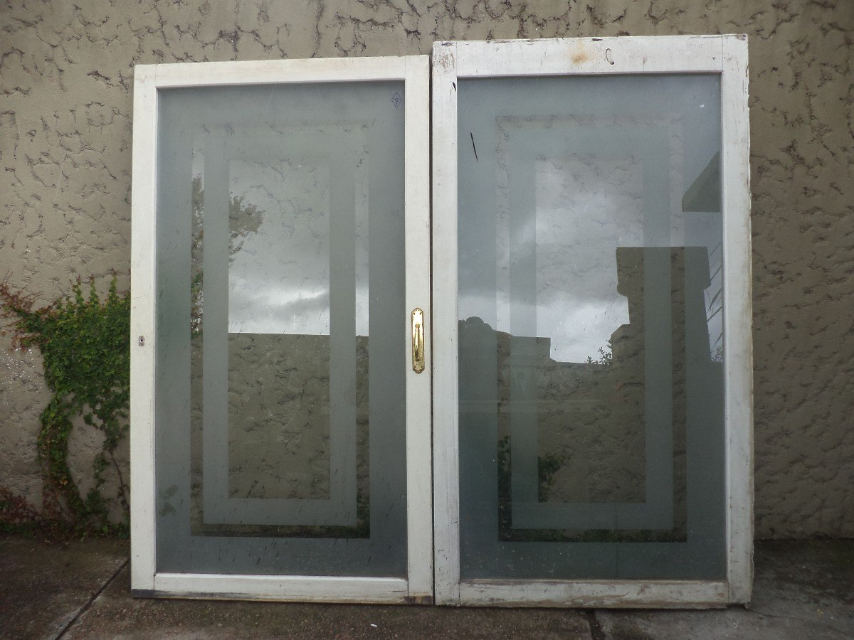 Puertas ventanas madera mampara divisoria vidrio antiguas - Mampara de vidrio ...