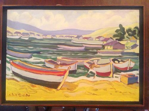 puerto de pescadores - jorge chacon - 38 x 54 cm