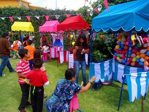 puestos de feria, fiestas patrias, kermesse,shows.