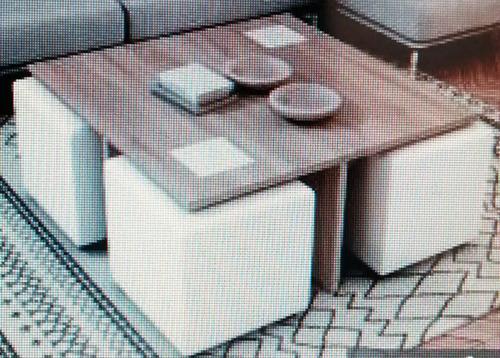 puf con mesa  madera