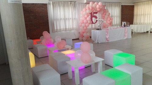 puf sillones  esferas led puf led champagñeras  columnas led